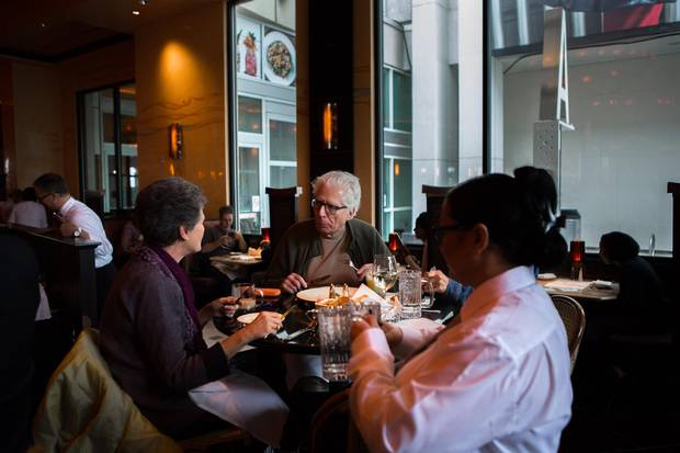 Guests eat at The Cheesecake Factory at the Yorkdale Shopping Centre during the soft opening on November 16, 2017.