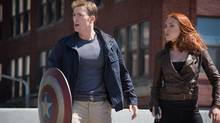 """Marvel's Captain America: The Winter Soldier."" From L to R: Captain America/Steve Rogers (Chris Evans) & Black Widow/Natasha Romanoff (Scarlett Johansson) (Zade Rosenthal/Marvel)"
