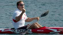 Canada's Mark de Jonge celebrates bronze in the men's 200-metre kayak single (K1) during the 2012 Summer Olympics at Dorney, England on Saturday. (Sean Kilpatrick/Canadian Press)