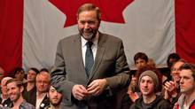 Quebec MP Thomas Mulcair leaves the stage after the final NDP leadership debate in Vancouver on March 11, 2012. (DARRYL DYCK/Darryl Dyck/The Canadian Press)