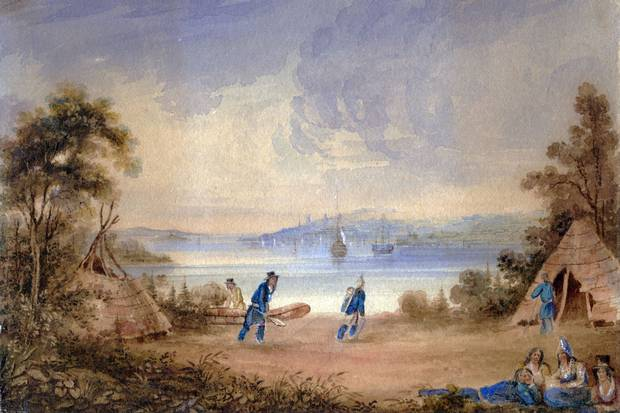 1837: A painting attributed to William Eager shows the Mi'kmaw encampment at Tuft's Cove.