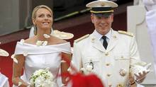 Prince Albert II of Monaco and Princess Charlene of Monaco leave the Prince's Palace after their religious wedding on July 2, 2011 in Monaco. (PATRICK KOVARIK/AFP/Getty Images/PATRICK KOVARIK/AFP/Getty Images)