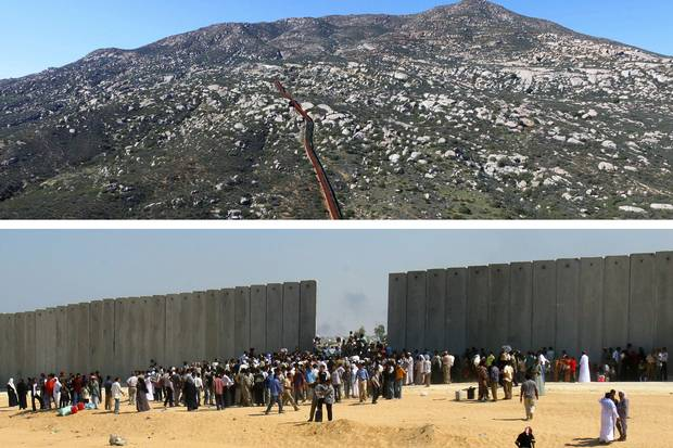Jan. 26, 2017 (top): Urban fencing on the U.S. border in Tecate, northwestern Mexico. Sept. 14, 2005 (bottom): Palestinians crowd at a gap in the border wall as they cross between the Rafah Refugee Camp, in the southern Gaza Strip, and Egypt.