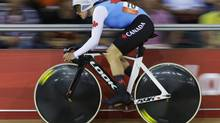 Canada's Tara Whitten competes in the women's omnium flying lap event, during the 2012 Summer Olympics, Monday, Aug. 6, 2012, in London. (Sergey Ponomarev/AP)