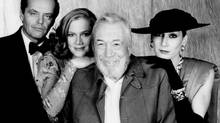 John Huston with Jack Nicholson, Kathleen Turner and daughter Anjelica Huston on the set of Prizzi's Honor. Biographer Jeffrey Meyers portrays him as great filmmaker. (Handout)