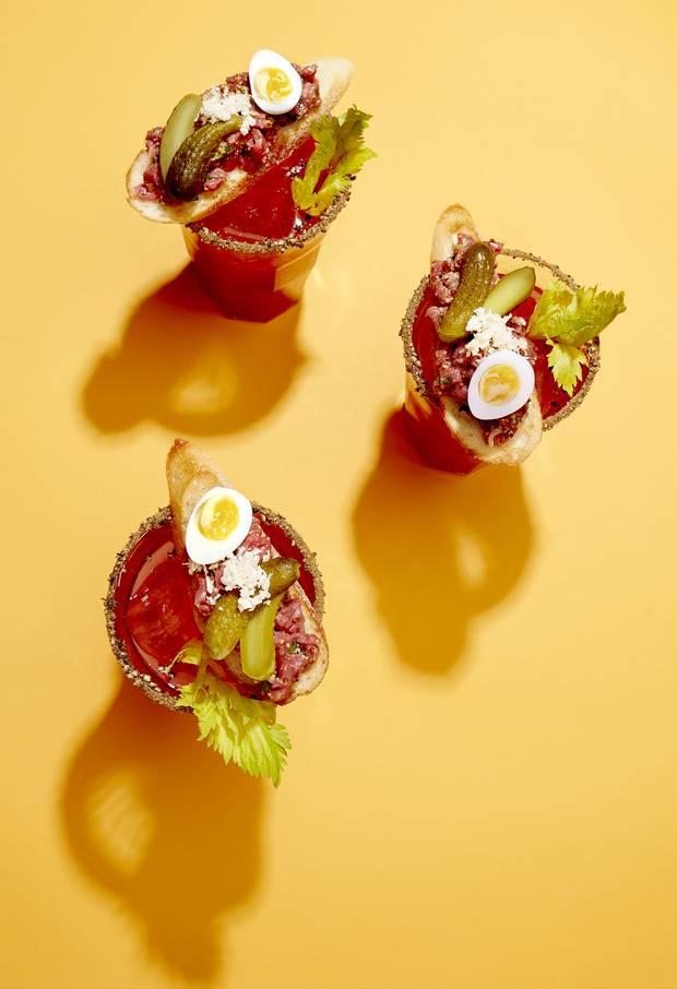 GARNISH OPTION #3: Tartare Caesar (Marché Bar à Tartare, Montreal). Crouton; classic beef tartare; horseradish; cornichon; boiled quail egg