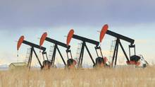 Four pumpjacks on the prairie. (Andrew Penner/iStockphoto)
