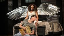 Raquel Duffy and Damien Atkins in Soulpepper's revival of Angels of America. (Photo by Cylla von Tiedemann)
