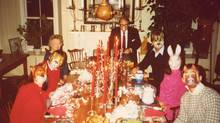 In the 1980s, Susan Swan's uncle John(at the head of the table) started displaying his Christmas trees in unusual ways. (Photo courtesy of Susan Swan)