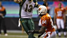 Edmonton Eskimos quarterback Mike Reilly hasn't had much protection this season. (ANDY CLARK/REUTERS)
