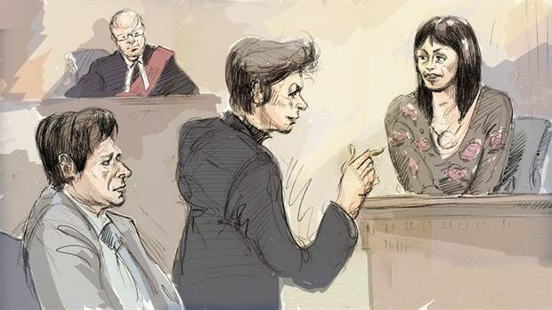 In this courtroom sketch, witness Lucy DeCoutere, right, is cross-examined by defence lawyer Marie Henein, centre, as Jian Ghomeshi, bottom left, and Justice William Horkins listen in court in Toronto on Friday, Feb. 5, 2016.