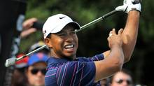 Tiger Woods during the first round of the Australian Masters at the Kingston Heath course, in Melbourne on November 12, 2009. (WILLIAM WEST)