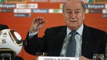 FIFA president Sepp Blatter speaks during a media briefing in Johannesburg June 29, 2010. Blatter apologised on Tuesday for the refereeing mistakes that have blighted the World Cup and said soccer's governing body would look again at introducing goalline technology. (HO/REUTERS)