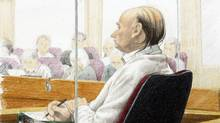 An artist's drawing of accused serial killer Robert Pickton taking notes while lead crown prosecutor Mike Petrie continues to deliver his closing arguments in his first degree murder trial at BC Supreme Court in New Westminster, Monday, November 26, 2007. (Jane Wolsak/ The Canadian Press/Jane Wolsak/ The Canadian Press)
