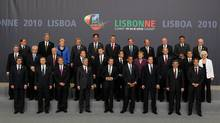 The leaders of NATO's member countries gather for a portrait at the two-day NATO Summit 2010 in Lisbon, Portugal. (Sean Gallup/Getty Images/Sean Gallup/Getty Images)