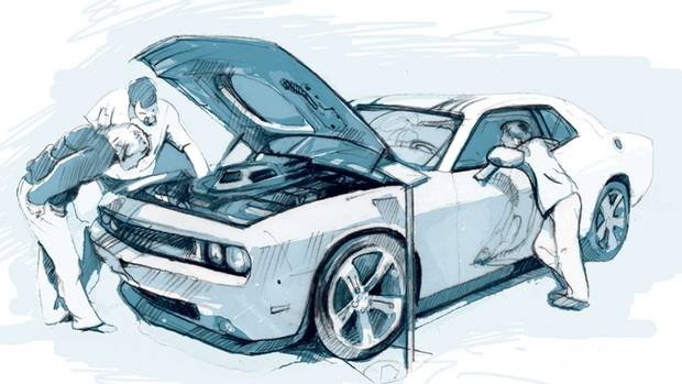 A family checks out the Dodge Challenger. (Tonia Cowan/The Globe and Mail)