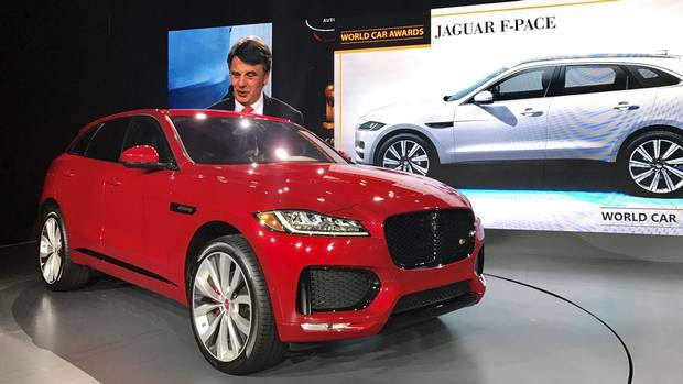 The Jaguar F-Pace is named World Car of the Year at the New York Auto Show.