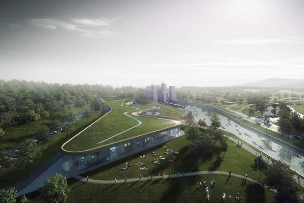 An artist's rendering shows the design for the new Canadian Canoe Museum building in Peterborough, Ont.