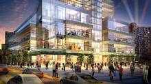 An artist's rendering of AURA's podium located at the corner Hayter Street and Yonge. The podium, at the base of the 78 storey tower, offers 190,000 sq. ft of prime retail space plus recreational areas. AURA will be Canada's largest condo tower. (Canderel)