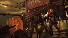 Players can sneak through the game Dishonored dispatching nary a soul, or can become a blood-thirsty killing machine, taking out everyone who stands in the way. The more murderous your choices, the more your Chaos rating climbs. The measure determines how many guards you'll encounter in subsequent missions, as well how dark the ending will be. (Arkane Studios/Bethesda Softworks)