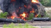 A twitter image of a train derailment in Lynchburg, Va., via @NewsBreaker.