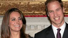 Get used to this: Prince William and Kate Middleton on the day their engagement was announced. (Getty Images)