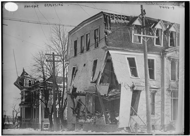 Damaged houses in Halifax after the explosion. Other reports of the explosion's aftermath included factory workers crushed inside collapsed brick and stone buildings.
