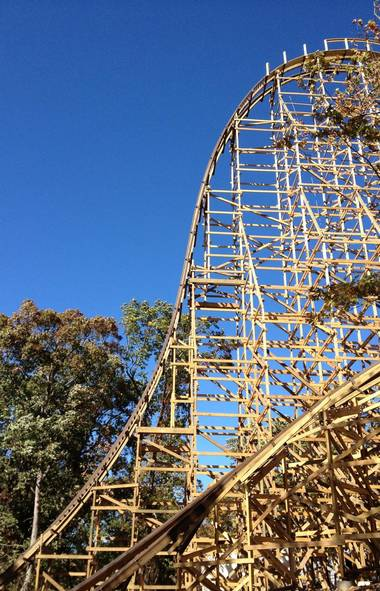 Here's the first vertical drop. Ready? It's 81 degrees and sixteen stories down. (Silver Dollar City)