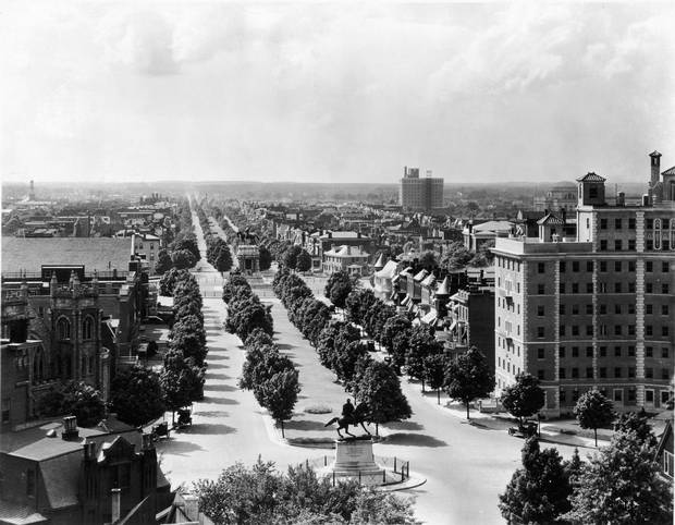 Richmond's Monument Avenue, seen in the 1920s, is lined by statues of Confederate leaders unveiled over a 40-year period