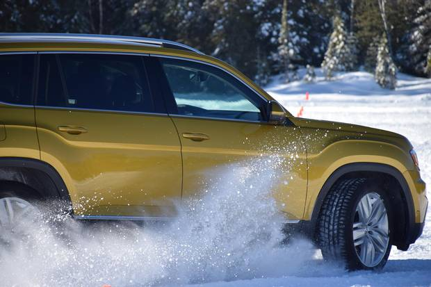 . Volkswagen all-wheel-drive on a frozen lake in Quebec.