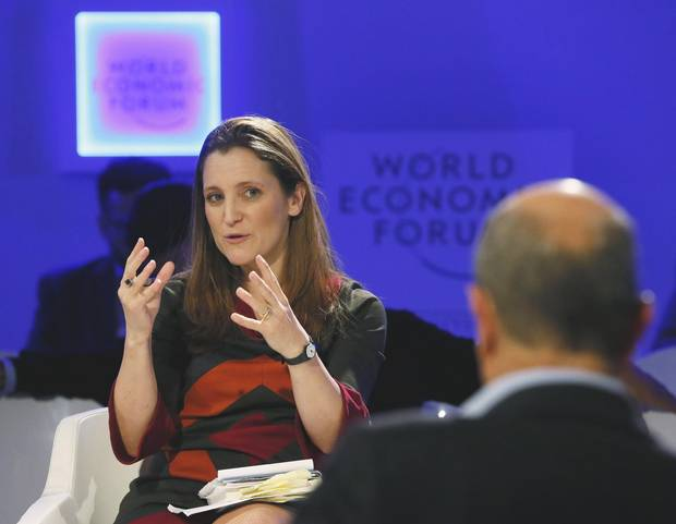 Chrystia Freeland, Digital Editor Thomson Reuters, gestures during the annual meeting of the World Economic Forum (WEF) in Davos January 25, 2013. REUTERS/Pascal Lauener (SWITZERLAND - Tags: POLITICS BUSINESS MEDIA) - RTR3CXAV