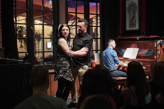 Soprano Beth Hagerman, baritone Alan MacDonald and pianist David Eliakis perform in a Toronto pub presentation by Against the Grain Theatre, the Canadian Opera Company's 'company-in-residence.'