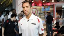 Steve Nash talks to the media following a press conference at the Air Canada Centre in Toronto on July 29, 2013. (Fernando Morales/The Globe and Mail)