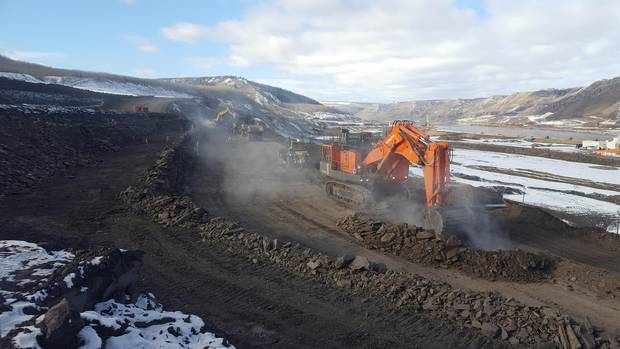 Excavation for the powerhouse on the south bank of the Site C dam.