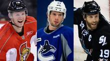 Jason Spezza, Ryan Kesler and Joe Thornton