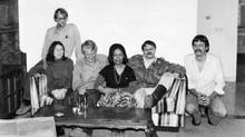 This photo was taken by Canadian John Sheardown in his Tehran living room during the three months in which he and his wife, Zena, hid four of the six American fugitives. From left to right: Americans, Mark Lijek, Cora Lijek, Robert Anders, Canadian Zena Sheardown, Canadian embassy counsellor Roger Lucy and American Lee Schatz. (CBC)