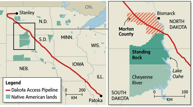 The Dakota Access pipeline's original route would have taken it under Lake Oahe, a reservoir of the Missouri River.