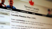 Information regarding the Canadian Pension Plan is displayed of the service Canada website in Ottawa on Tuesday, January 31, 2012. THE CANADIAN PRESS/Sean Kilpatrick (Sean Kilpatrick/THE CANADIAN PRESS)