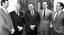 Officers of Sobey's Stores Limited meet prior to announcing a $10 share issue to finance expansion in Atlantic Canada. From left, James Gogan, Sobey's director; Frank Sobey, Honourary chairman; William Sobey, chairman; Donald Sobey, director, and David Sobey, president. c. March 1981. (Wamboldt-Waterfield)