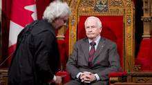 Governor-General David Johnston oversees a ceremony giving royal assent to government legislation in the Senate, Dec. 14, 2012. in Ottawa. (Adrian Wyld/THE CANADIAN PRESS)