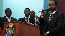 Somalia's new president Hassan Sheikh Mohamud gives his address during his inauguration ceremony in Mogadishu September 16, 2012. Somali President Hassan Sheikh Mohamud has named Abdi Farah Shirdon Saaid as the country's new prime minister, diplomats and a government source said, the first major decision by an administration installed after over 20 years of conflict. (OMAR FARUK/REUTERS)