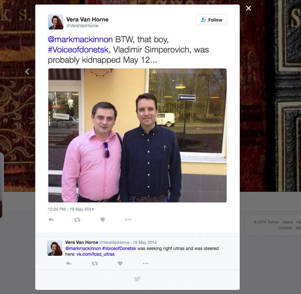 An alarming Twitter post, accompanied by the photo of Vladimir, left, and Mark MacKinnon taken when they first met.