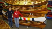 Keith and Steve MacAllister in Langford Canoe's Dwight head office showroom. (Brent Statten/Brent Statten)