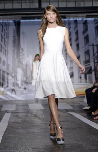 A model presents a creation by DKNY at New York Fashion Week. (KEITH BEDFORD/REUTERS)