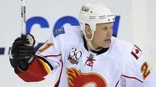 Calgary Flames centre Olli Jokinen celebrates after winning goal during overtime shootout NHL action in Edmonton, Alberta, on Thursday, October 8, 2009. Calgary defeated Edmonton 4-3 after a overtime shootout. (Jimmy Jeong)