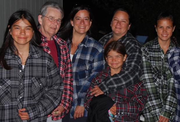 Ms. Wilson-Raybould, third from the left, stands beside her mother and sister, surrounded by nieces Kaylene (left), Kaydence (second right) and Kaija (right).