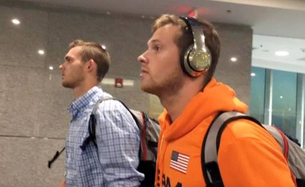 Jack Conger and Gunnar Bentz arrive in Miami on Aug. 19, 2016, on an overnight flight from Brazil.