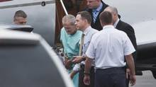 David James Leblanc, facing charges of sexually assaulting and confining a teenage boy, is returned on a RCMP aircraft to Halifax, on Friday, Oct. 5, 2012. Mr. Leblanc was arrested in Northern Ontario and his co-accused, Wayne Alan Cunningham, was found dead. (Andrew Vaughan/THE CANADIAN PRESS)