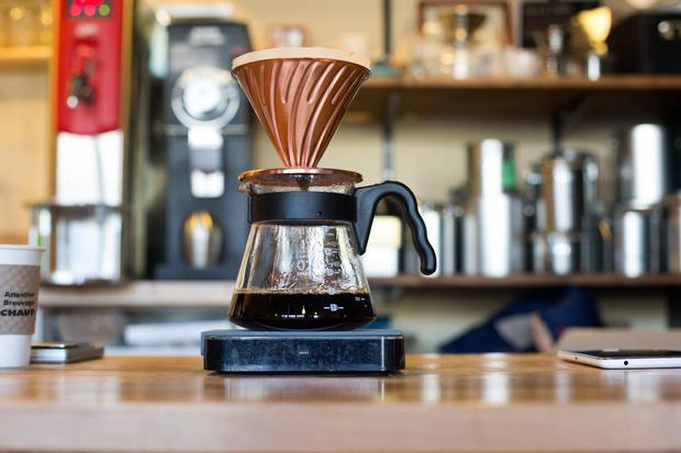 A pour-over coffee at Rogue Wave Coffee.
