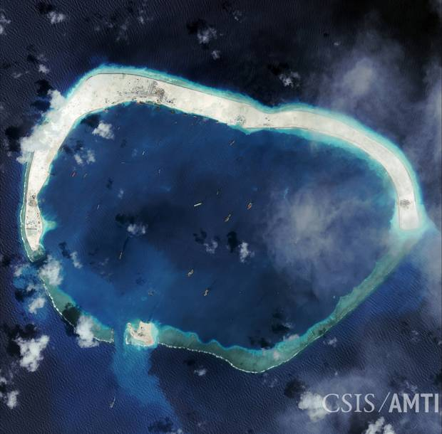 Here's Mischief Reef on Jan. 8, 2016, with even more built up.